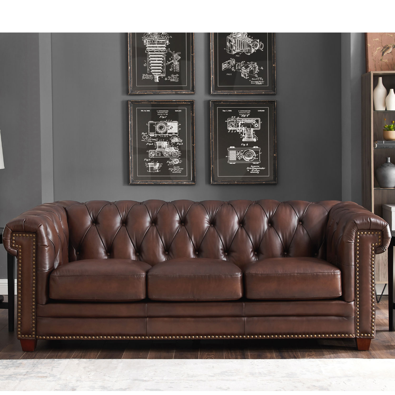 - Hydeline Stanwood-SO Stanwood Leather Sofa In Tufted Brown W