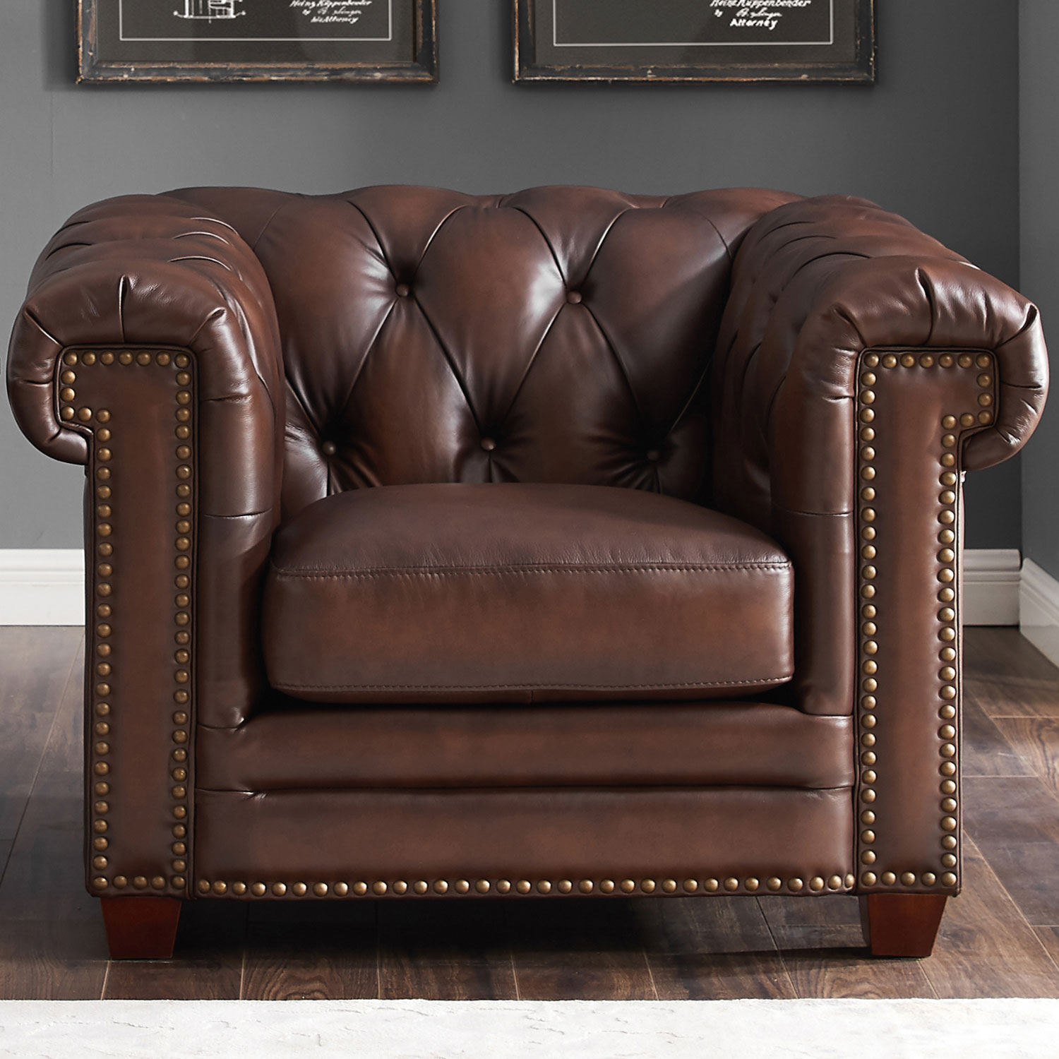 Stanwood 100% Leather Armchair In Tufted Brown W/ Nailheads