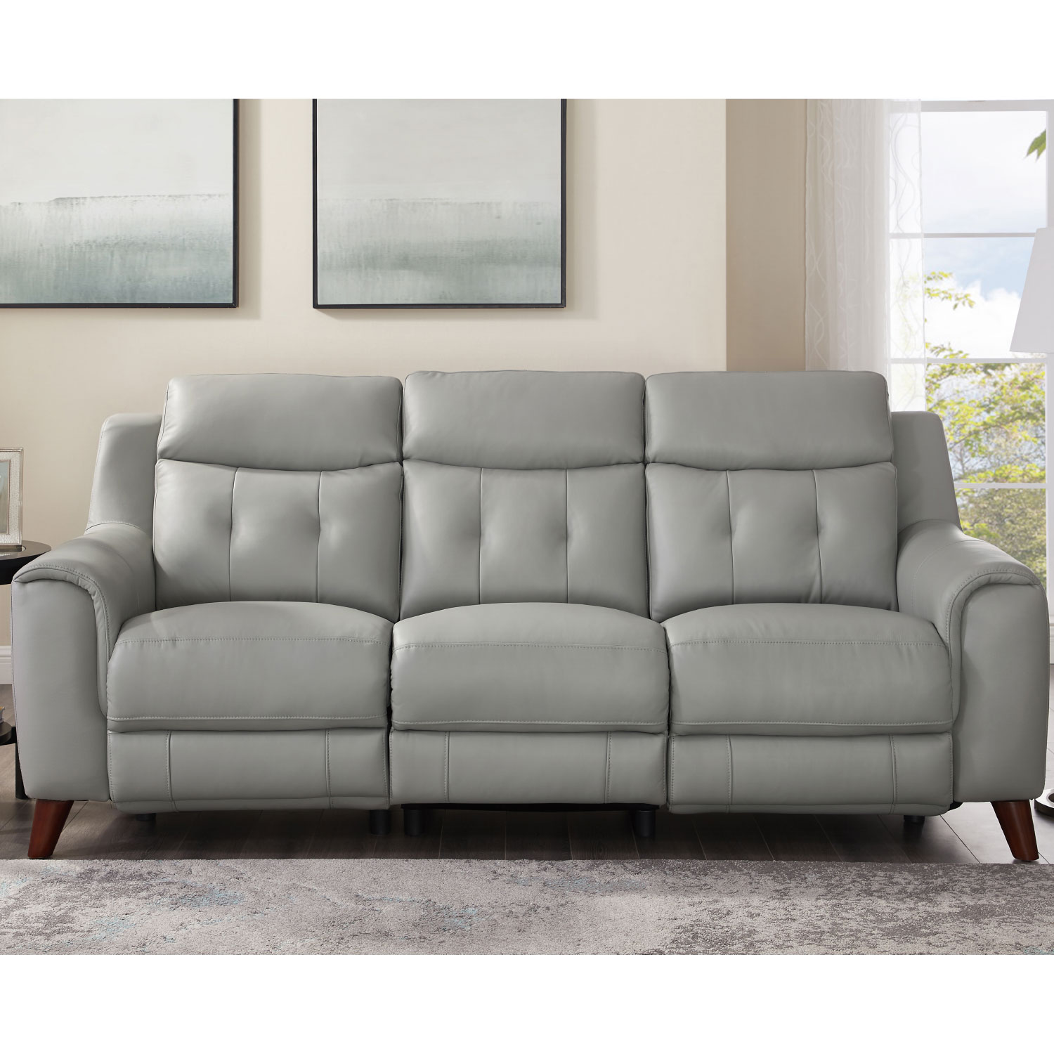 Torino Power Reclining Sofa W Power Headrest Lumbar In Silver Grey Leather By Hydeline Leather