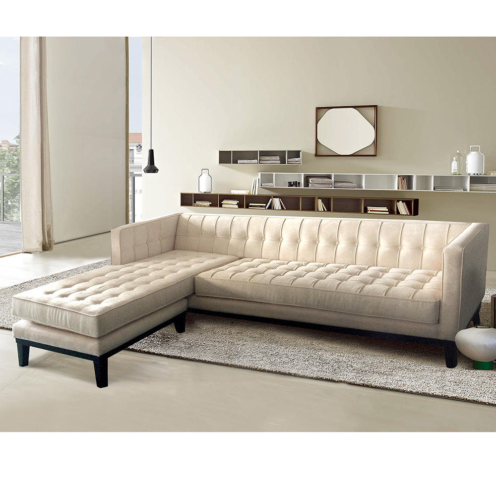 Armen living lc10103chaisecr roxbury tufted sectional sofa for Armen living patterson chenille chaise lounge