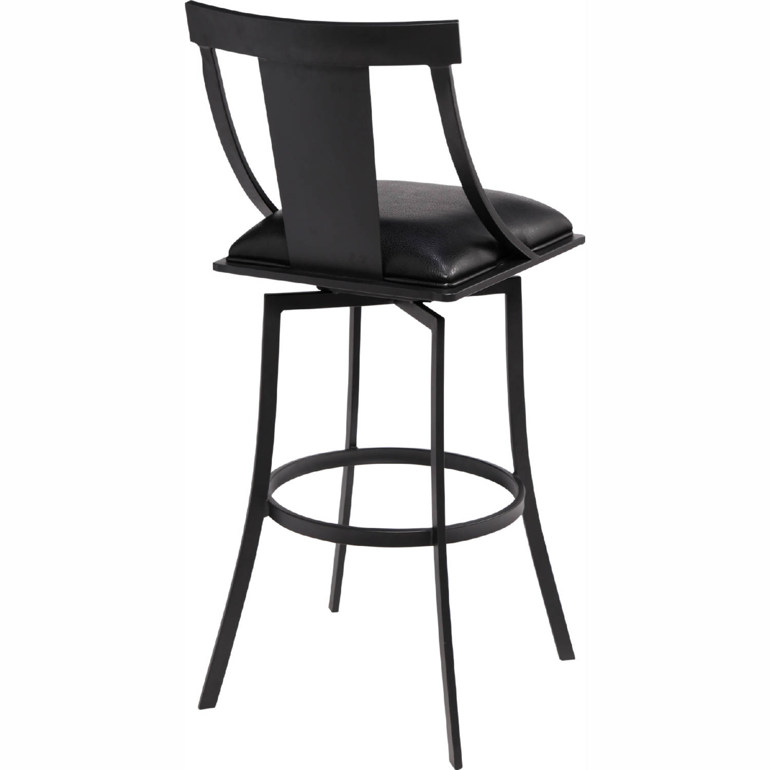 Astonishing Brisbane 30 Bar Stool In Matte Black Metal Black Leatherette By Armen Living Andrewgaddart Wooden Chair Designs For Living Room Andrewgaddartcom
