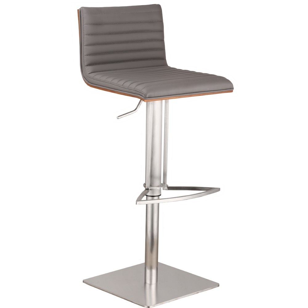 Armen Living Cafe Adjustable Bar Stool In Gray Leatherette W/ Walnut Back  On Brushed Stainless