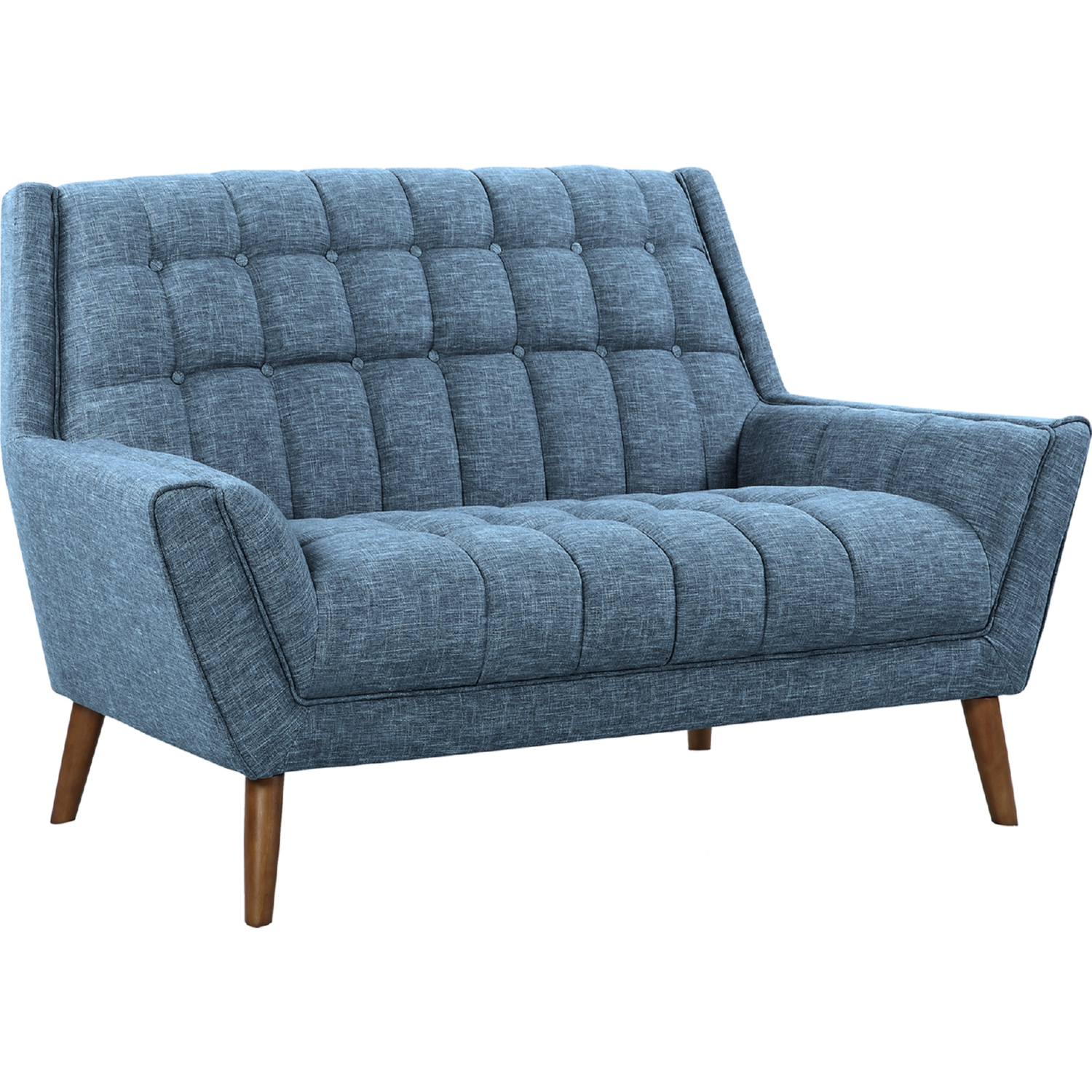 Incredible Cobra Mid Century Modern Loveseat In Tufted Blue Linen On Walnut Legs By Armen Living Bralicious Painted Fabric Chair Ideas Braliciousco
