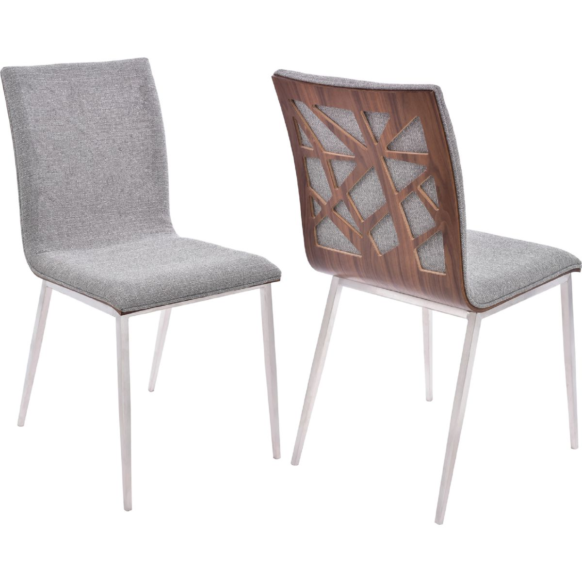 Armen Living Crystal Dining Chair In Brushed Stainless Steel W/ Grey Fabric  U0026 Walnut Back (Set Of 2)