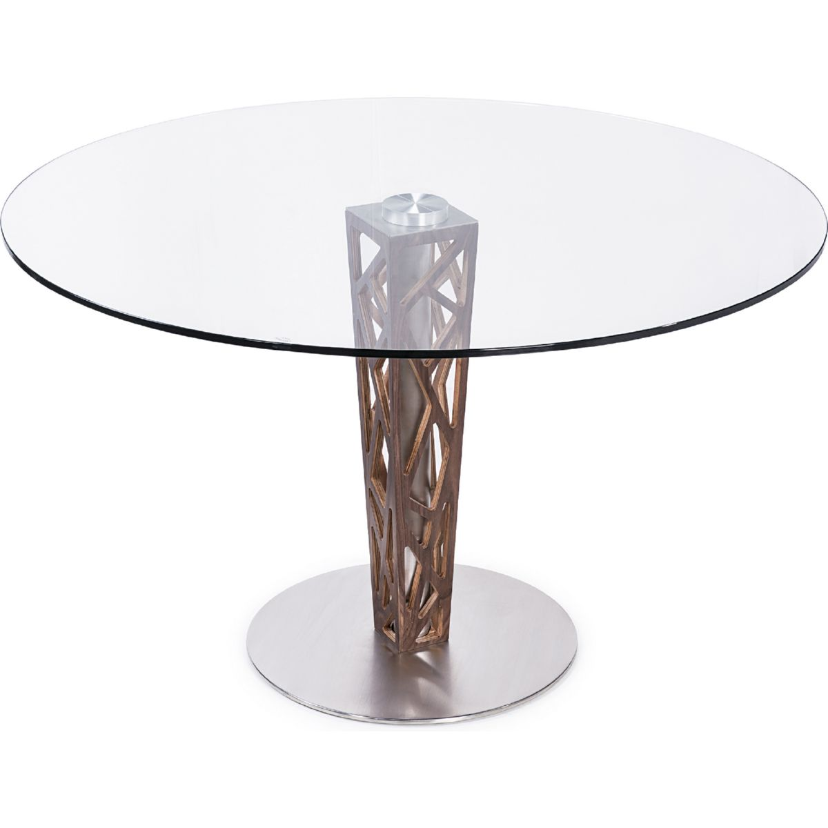 """Armen Living LCCRDITOGR Crystal 48"""" Round Dining Table in Walnut"""