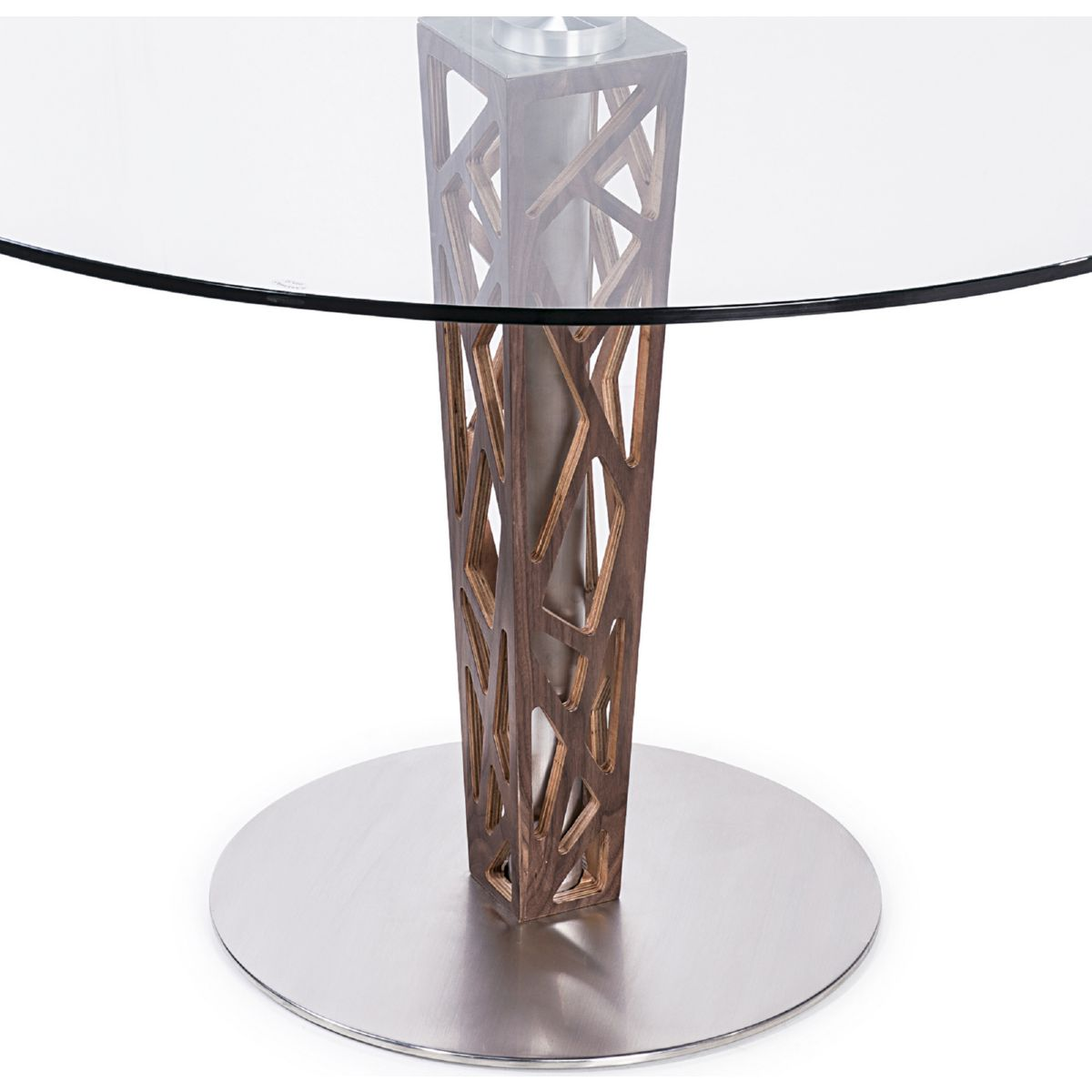 Armen living lccrditogr crystal 48 round dining table in walnut crystal 48 round dining table in walnut veneer brushed stainless steel tempered glass top geotapseo Images