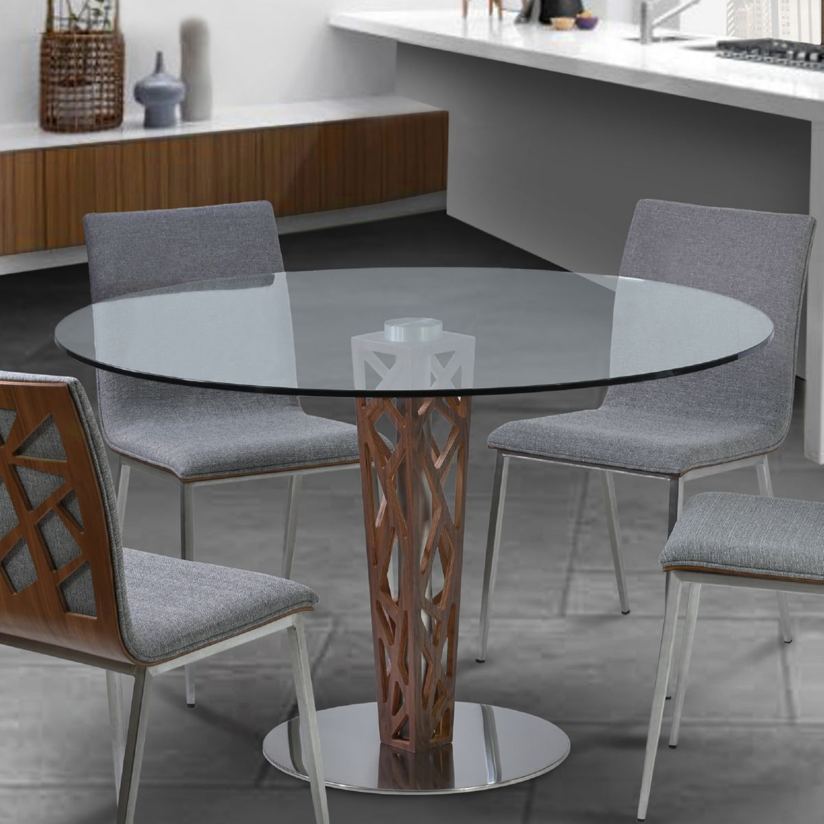 Armen living lccrditogr crystal 48 round dining table in walnut armen living crystal 48 round dining table in walnut veneer brushed stainless steel tempered glass top geotapseo Images
