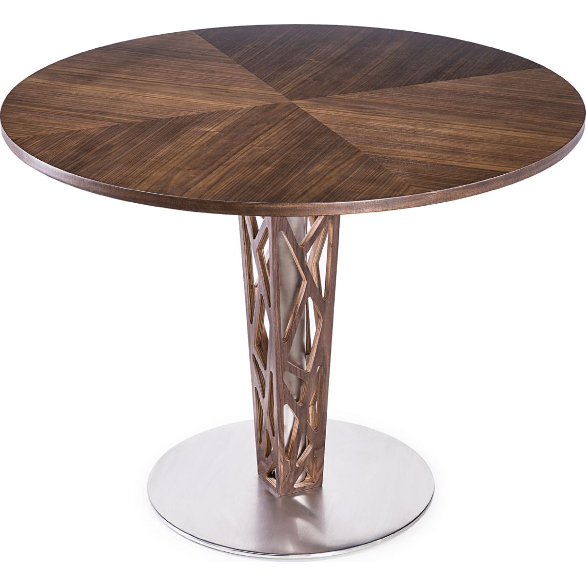 Dining Table In Walnut Veneer Brushed Stainless Steel W Walnut