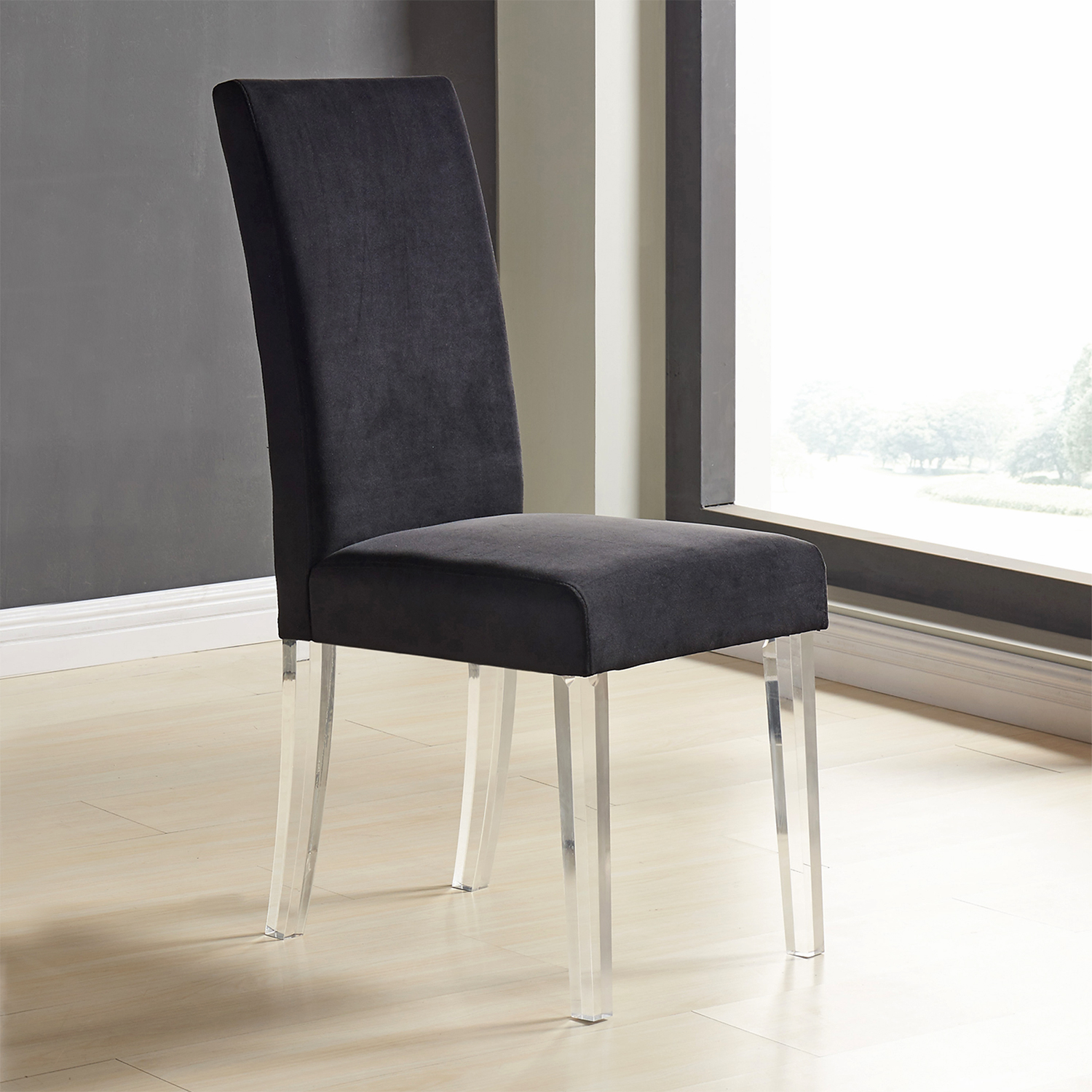 Armen Lcdachbl Dalia Modern Dining Chair In Black Velvet