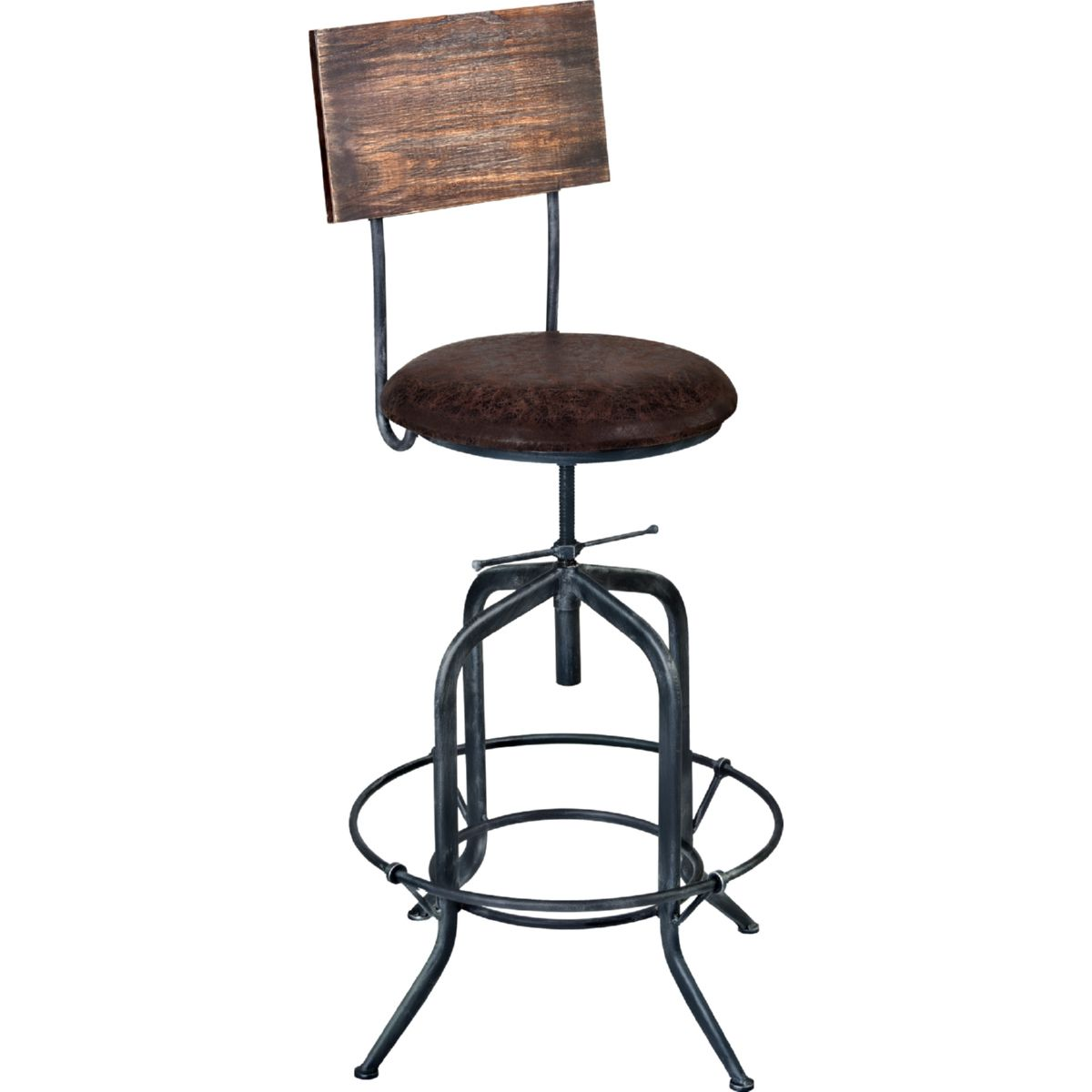 Damian Adjule Bar Stool In Grey Metal Weathered Pine W Brown Fabric Seat By Armen Living