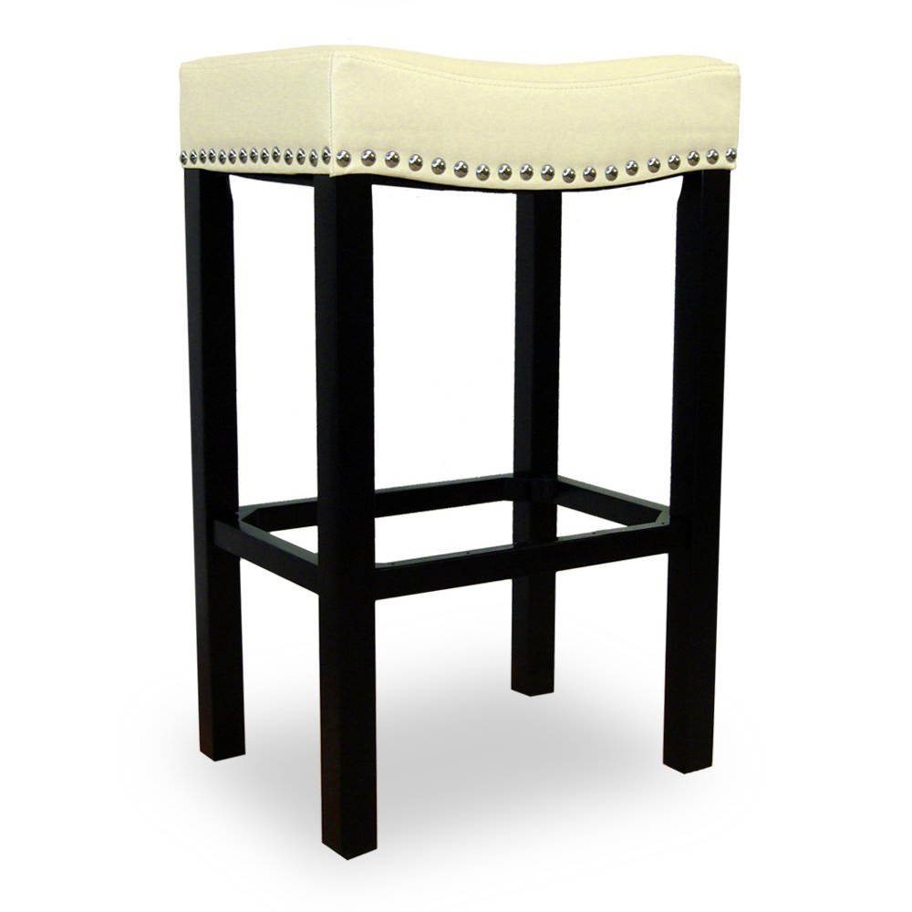 Pleasing Tudor 26 Stool In Cream Leather W Chrome Nails On Espresso Base By Armen Living Beatyapartments Chair Design Images Beatyapartmentscom