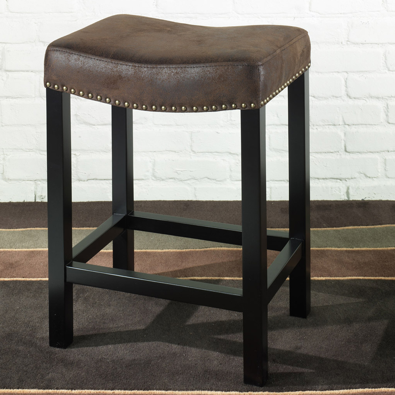 Fantastic Tudor Backless Counter Height Stool In A Wrangler Brown Fabric W Nail Head Accents By Armen Living Cjindustries Chair Design For Home Cjindustriesco
