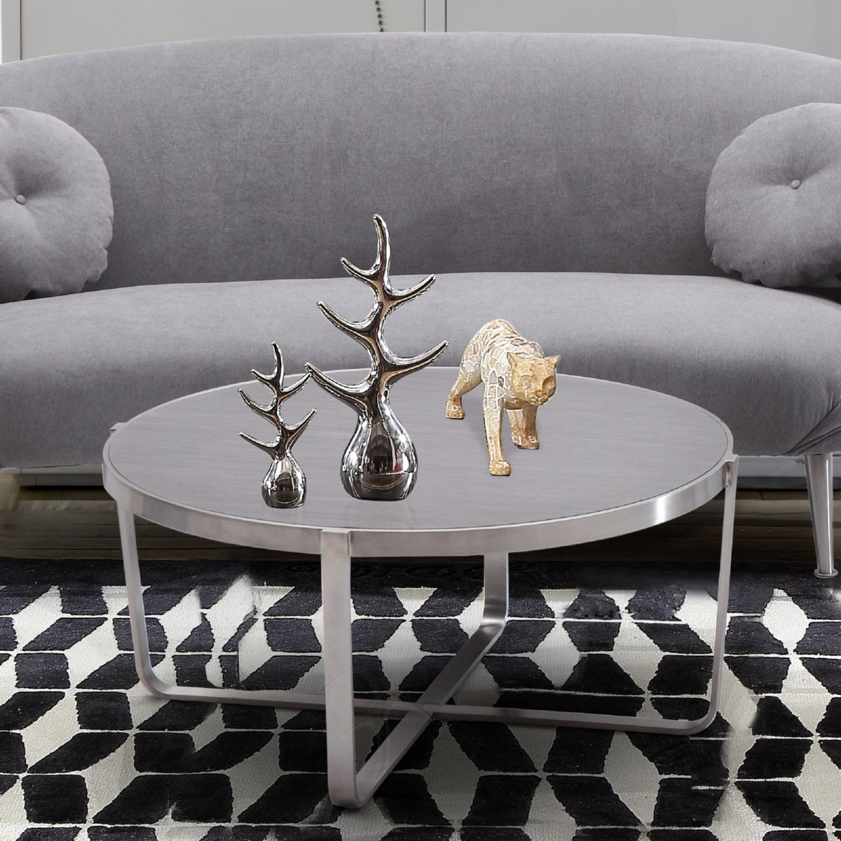 Lovely Armen Living Nova Coffee Table In Brushed Stainless Steel W/ Grey Wood Top