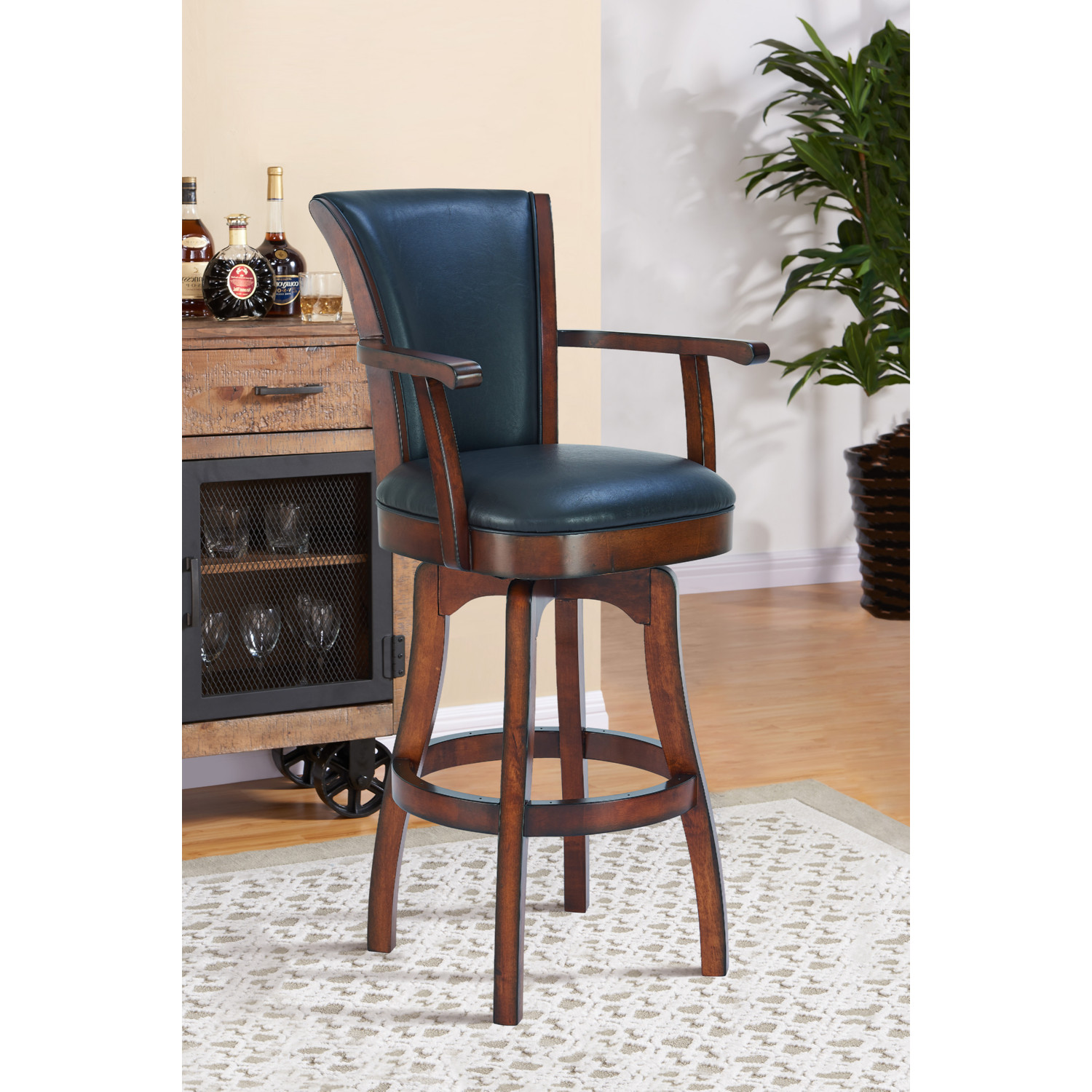 Astonishing Raleigh Arm 26 Swivel Counter Stool In Rustic Cordovan Brown Bonded Leather By Armen Living Ncnpc Chair Design For Home Ncnpcorg