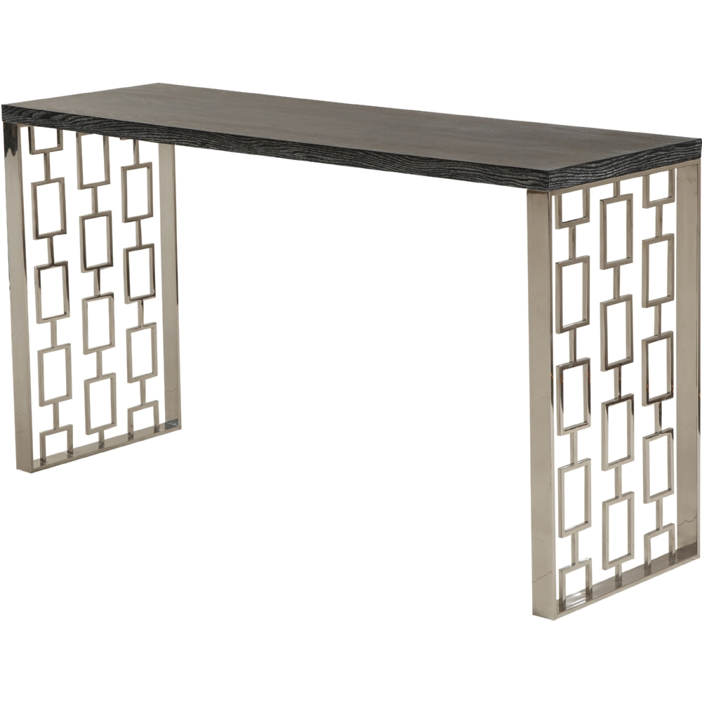 Armen living lcskcnblmt skyline console table w charcoal top armen living lcskcnblmt skyline console table w charcoal top laser cut stainless sides geotapseo Images