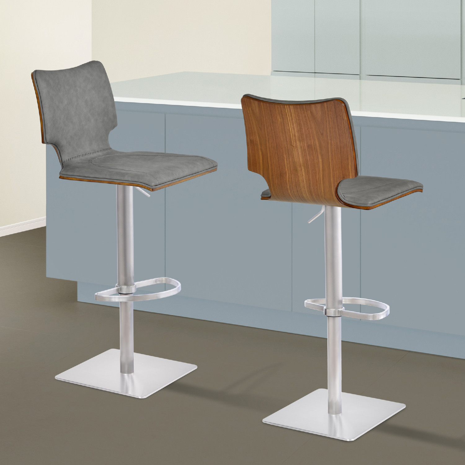 Excellent Sydney Adj Bar Stool In Brushed Stainless Grey Leatherette Walnut By Armen Living Ibusinesslaw Wood Chair Design Ideas Ibusinesslaworg