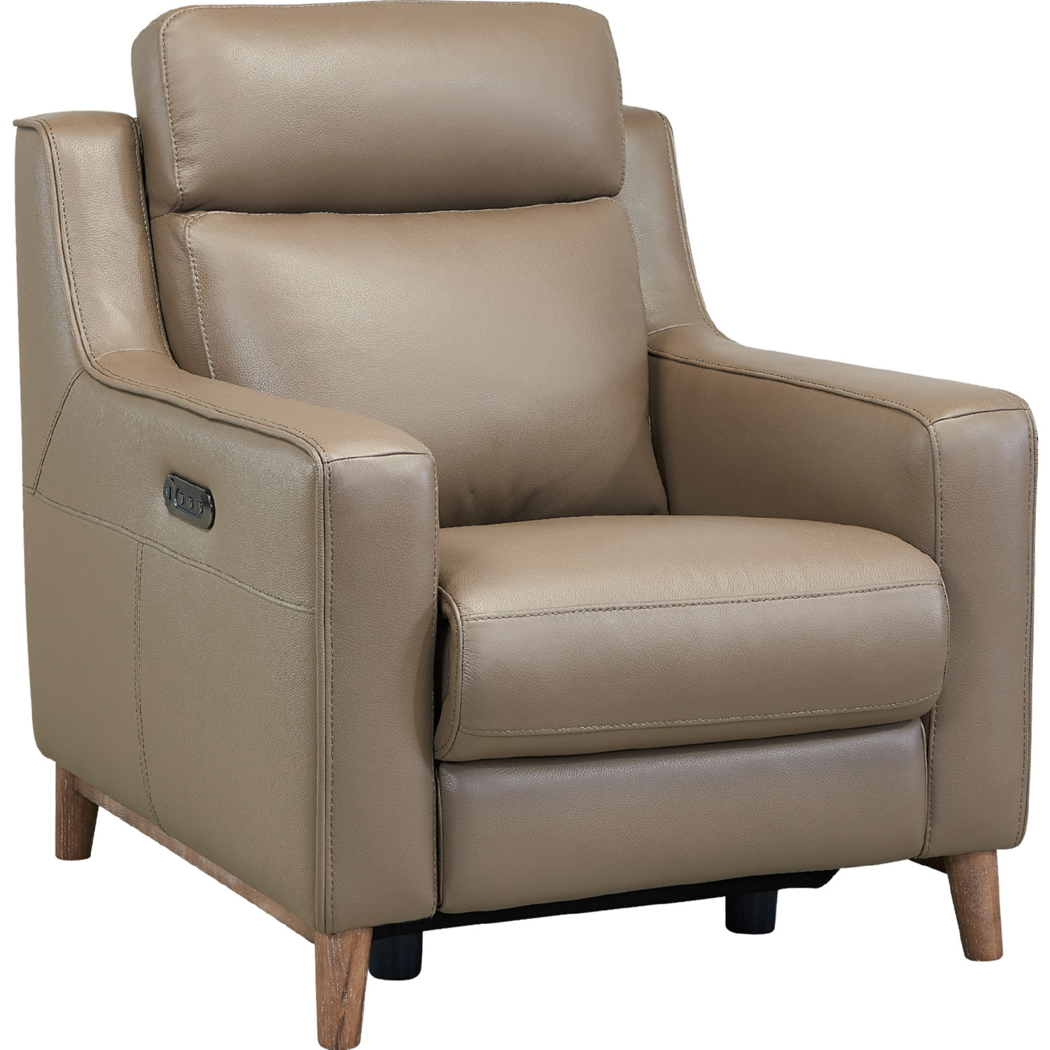 Awe Inspiring Wisteria Power Accent Chair Recliner In Taupe Leather Burlywood By Armen Living Dailytribune Chair Design For Home Dailytribuneorg