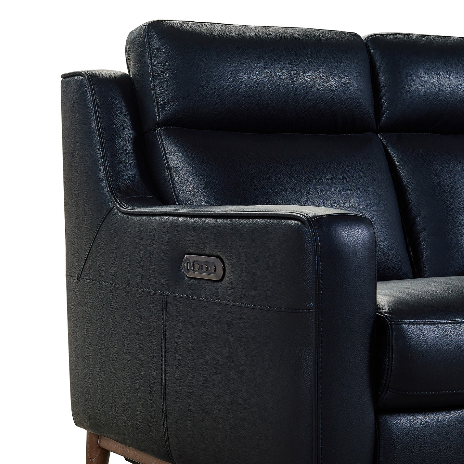 Incredible Wisteria Power Reclining Sofa In Black Leather Burlywood By Armen Living Machost Co Dining Chair Design Ideas Machostcouk