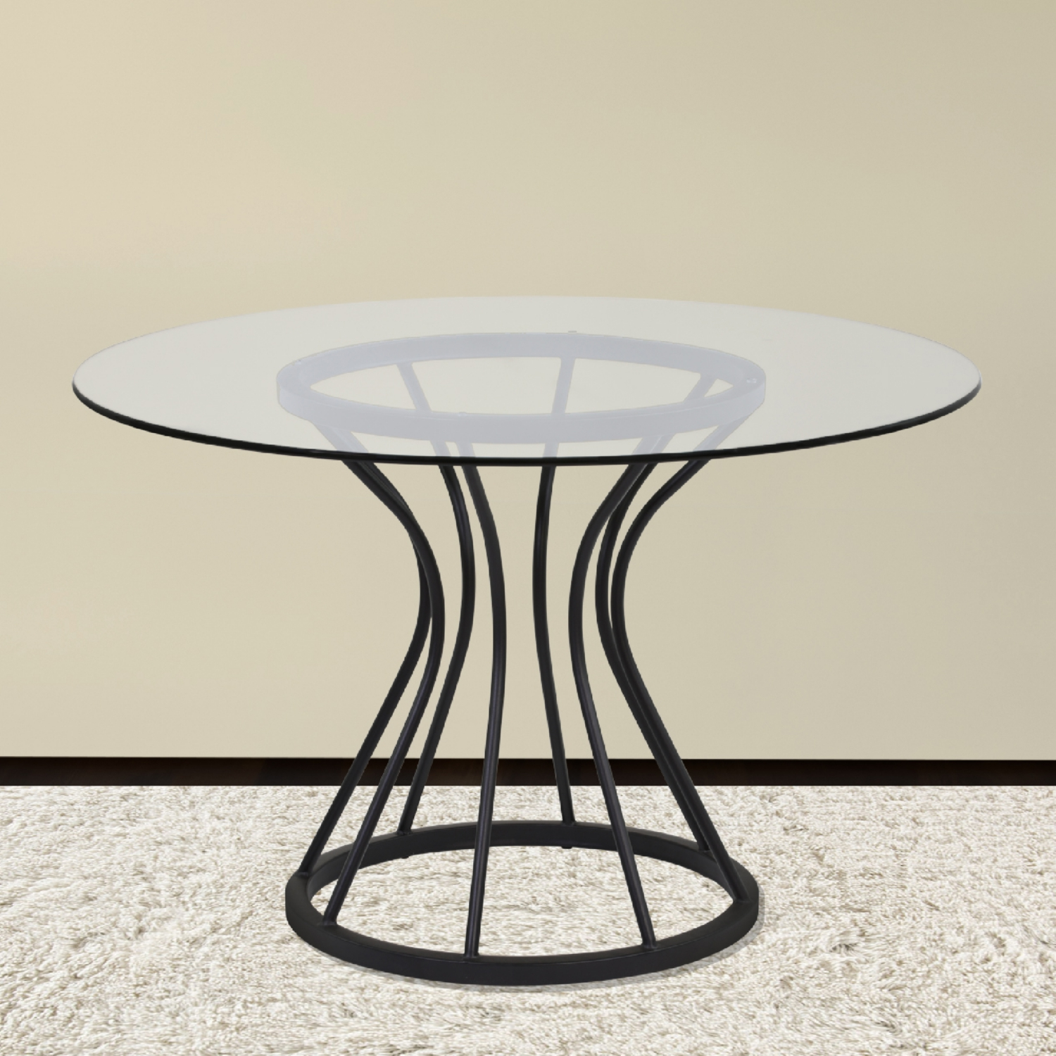 Zurich 48 Round Dining Table In Black Metal Gl By Armen Living