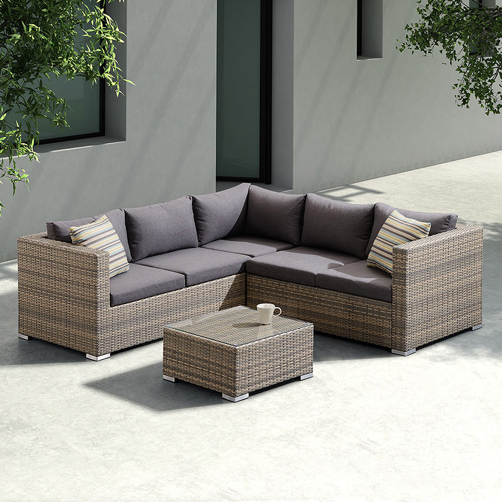 Swell Nina 3 Piece Outdoor Rattan Sectional Sofa Set W Brown Cushions Accent Pillows By Armen Living Inzonedesignstudio Interior Chair Design Inzonedesignstudiocom
