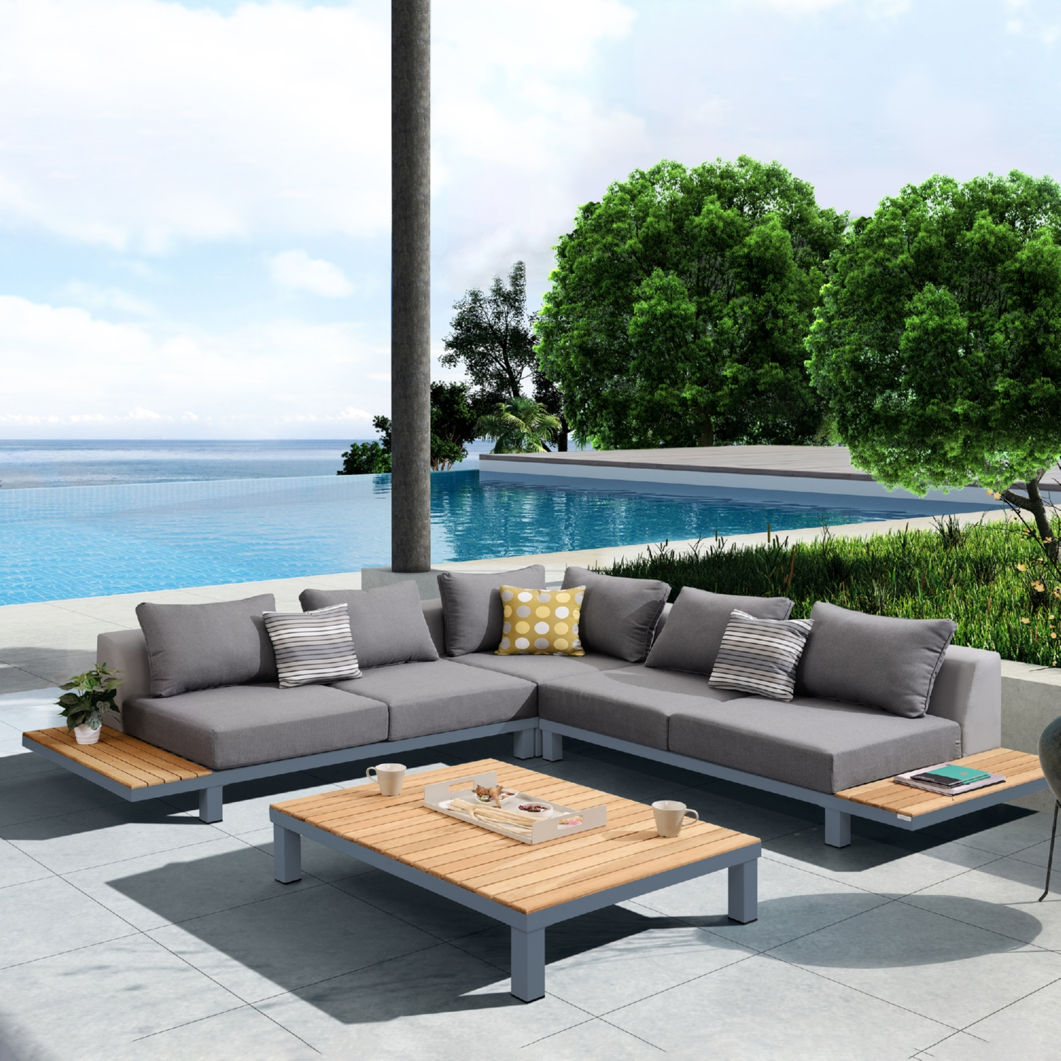 Picture of: Armen Setodpo4se Polo 4 Piece Outdoor Sectional Sofa Set W Dark Grey Cushions Accent Pillows