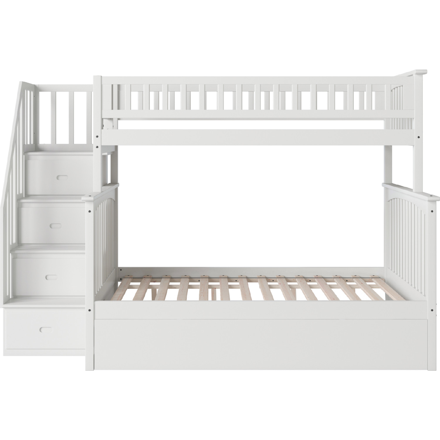 Picture of: Atlantic Ab55772 Columbia Staircase Bunk Bed Twin Over Full Full Urban Trundle Bed In White
