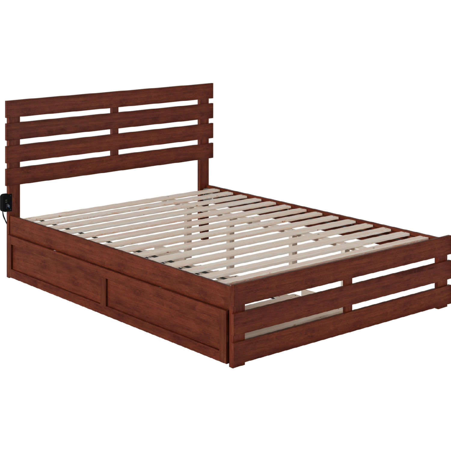 Picture of: Atlantic Ag8361144 Oxford Queen Bed W Footboard Usb Turbo Charger Twin Ex Long Trundle In Walnut