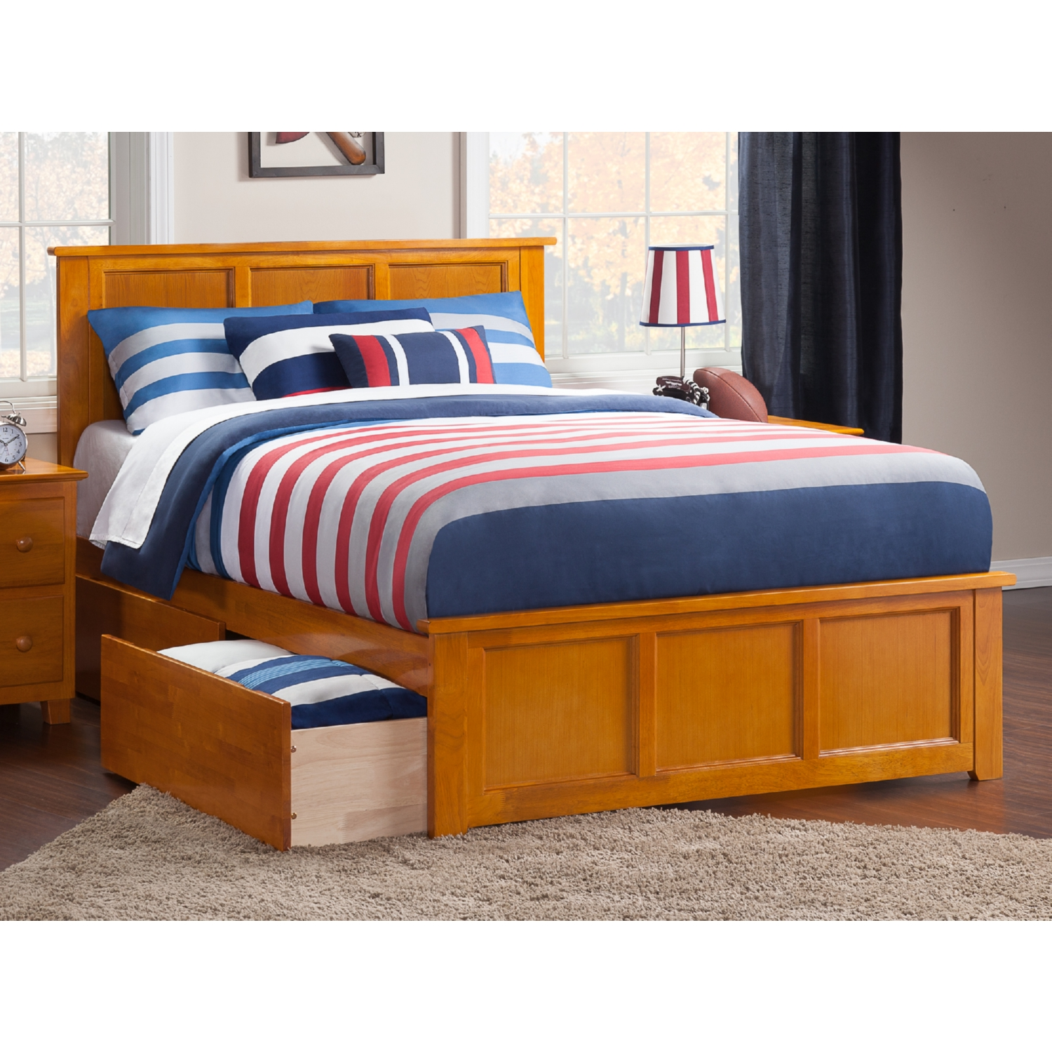 Atlantic Furniture Ar8636117 Madison Full Bed W Matching Footboard 2 Urban Bed Drawers In
