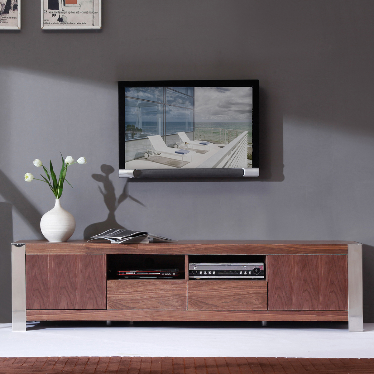 bmodern bmgry composer  contemporary tv stand in high  - composer  contemporary tv stand in light walnut