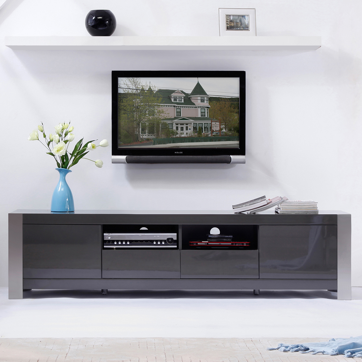 bmodern bmbrn composer  contemporary tv stand in light walnut - composer  contemporary tv stand in high gloss gray lacquer