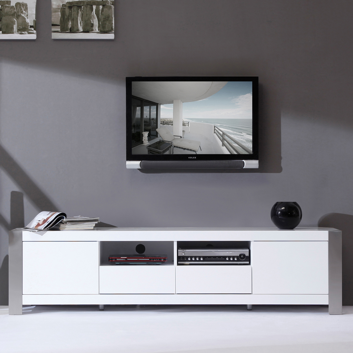 b modern bm 100 wht composer 79 contemporary tv stand in high gloss white lacquer. Black Bedroom Furniture Sets. Home Design Ideas