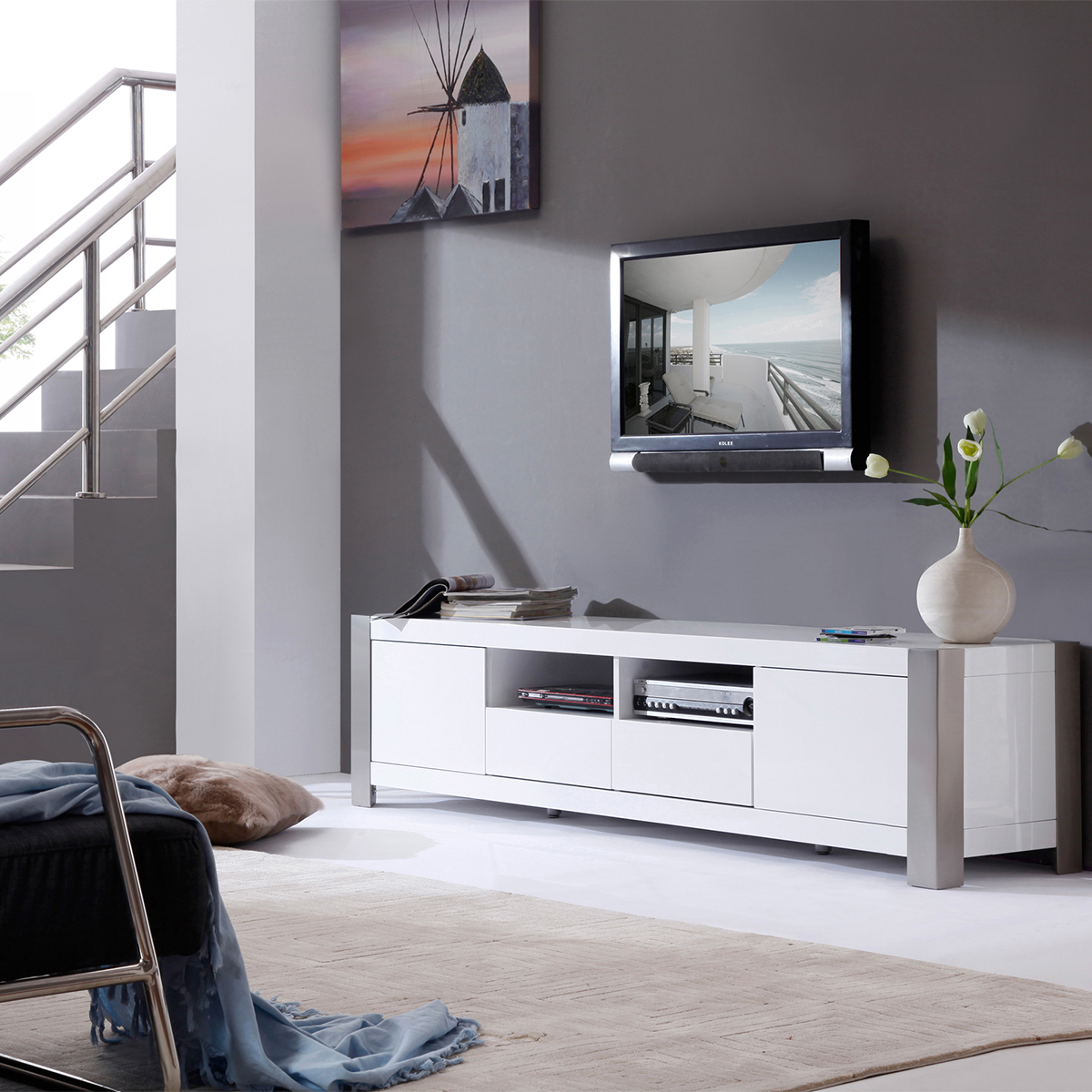 B Modern Bm 100 Wht Composer 79 Contemporary Tv Stand In High Gloss
