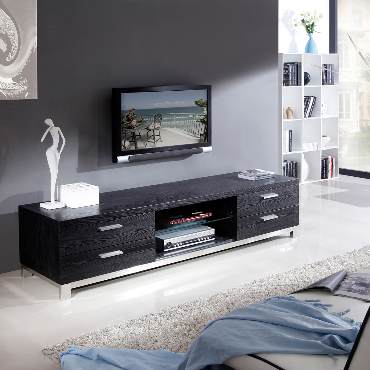 bmodern bmblk promoter  contemporary tv stand in black oak - bmodern promoter  contemporary tv stand in black oak