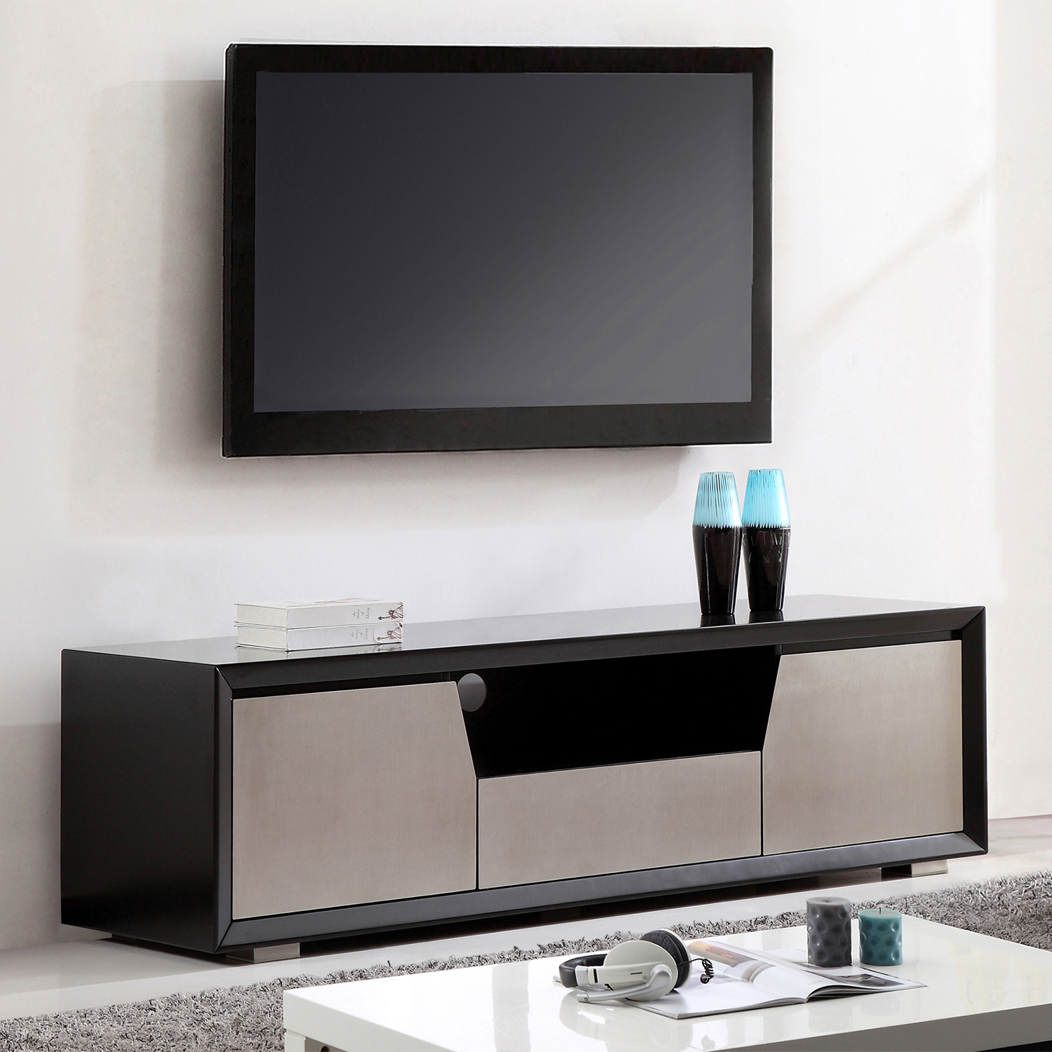 bmodern bmblk esquire  contemporary tv stand in matte  - esquire  contemporary tv stand in matte black  stainless steel