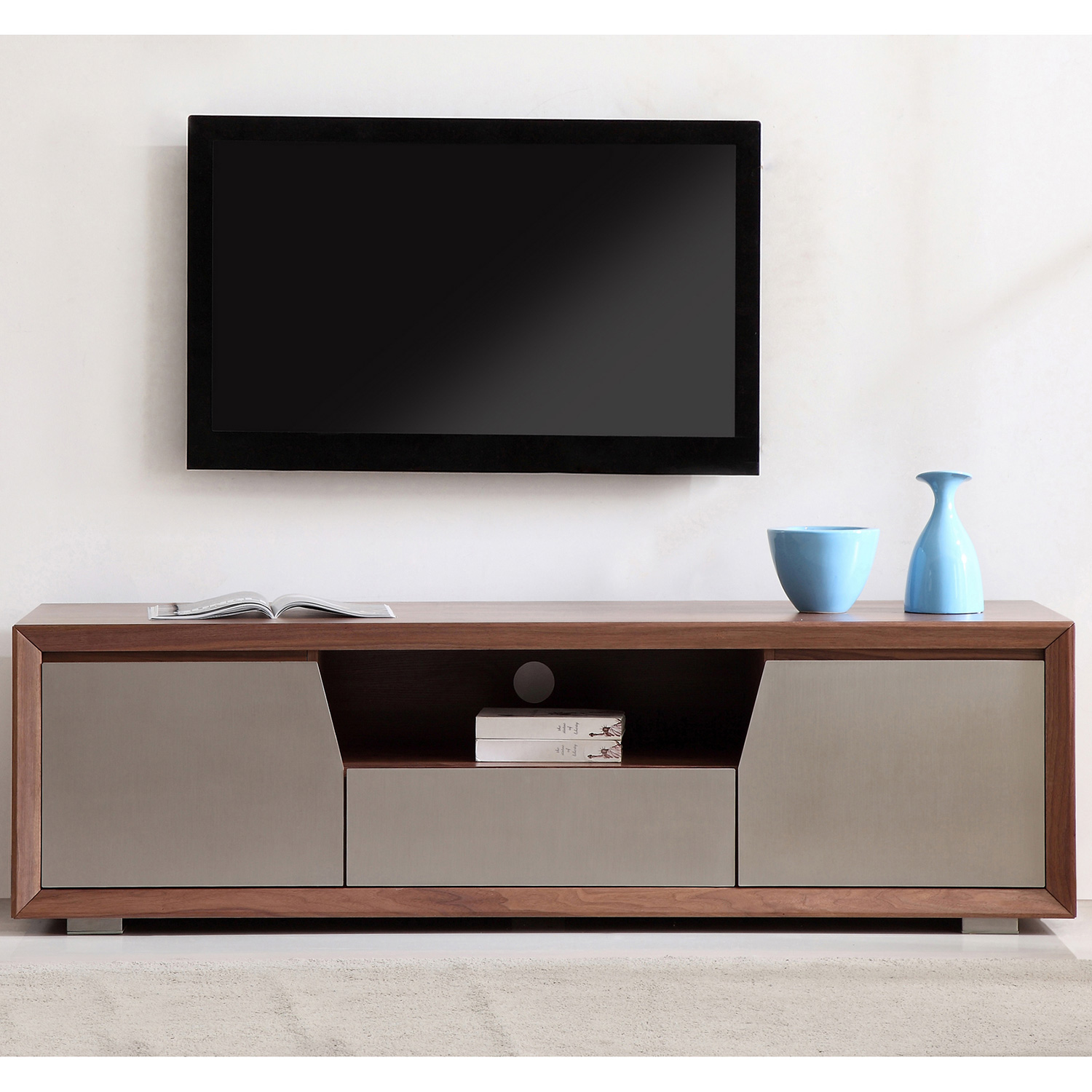 Esquire 75 Contemporary Tv Stand In Light Walnut Stainless Steel