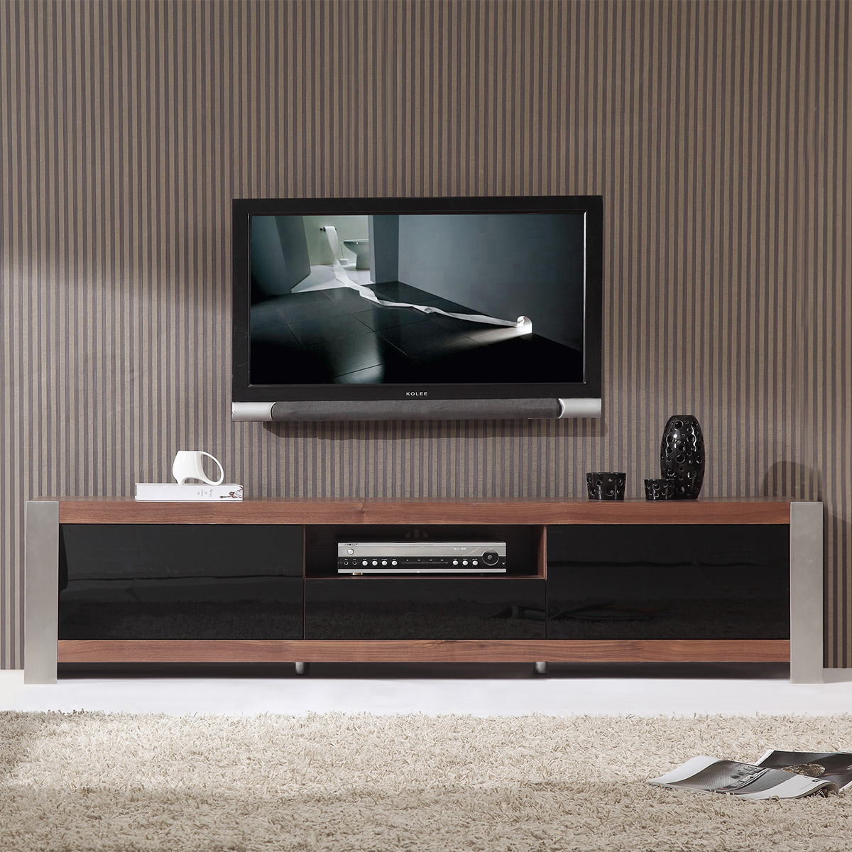 coordinator  contemporary tv stand in light walnut  stainless steel. bmodern minimalist design contemporary tv stands  furniture at