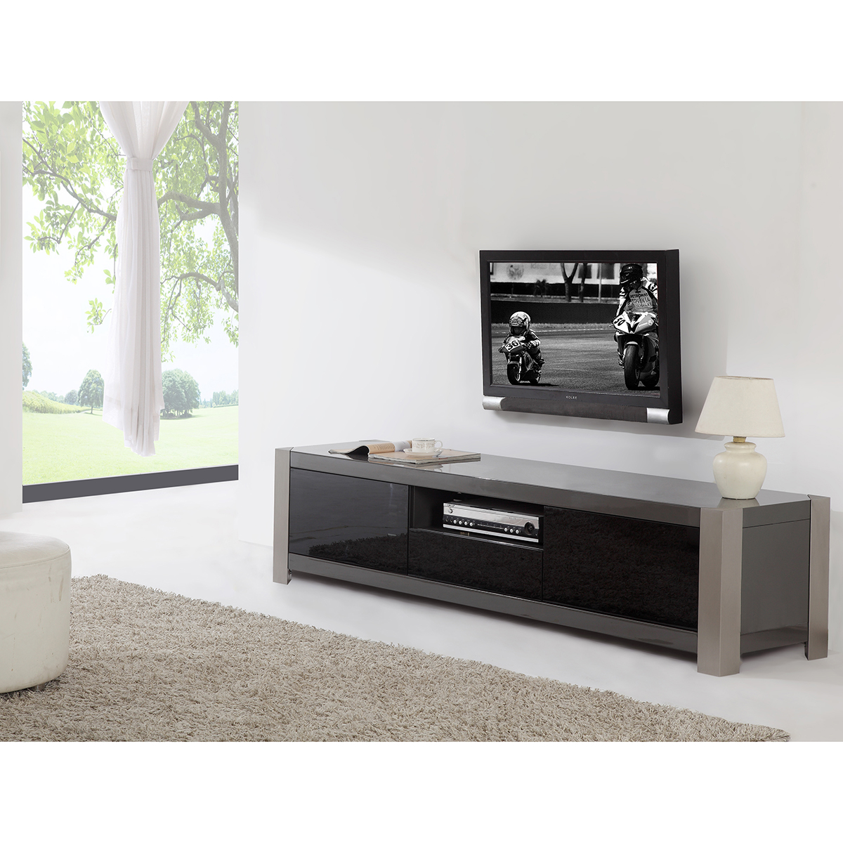 bmodern bmgry coordinator  contemporary tv stand in gray  - coordinator  contemporary tv stand in gray high gloss  stainless steel