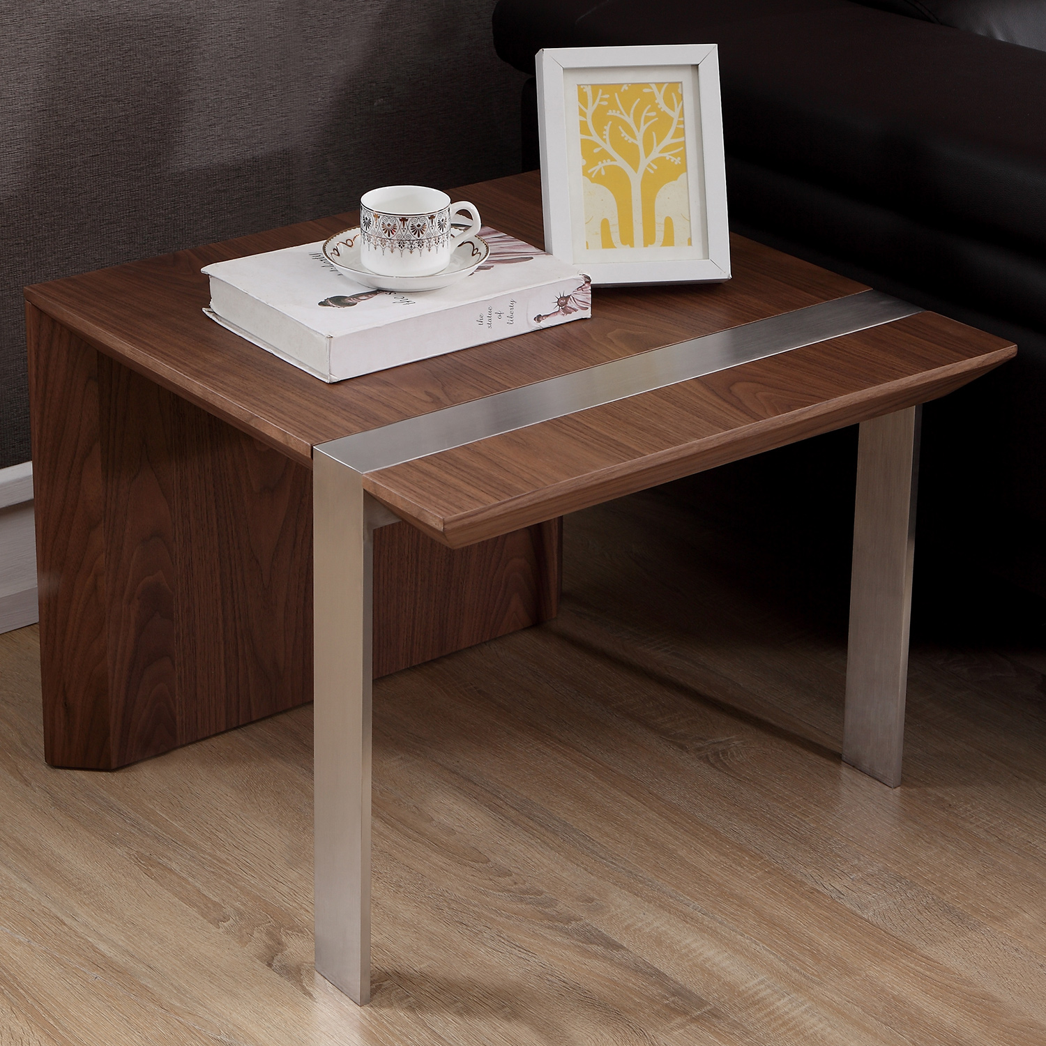 B modern bm 420 brn s director end table in light walnut brushed stainless steel
