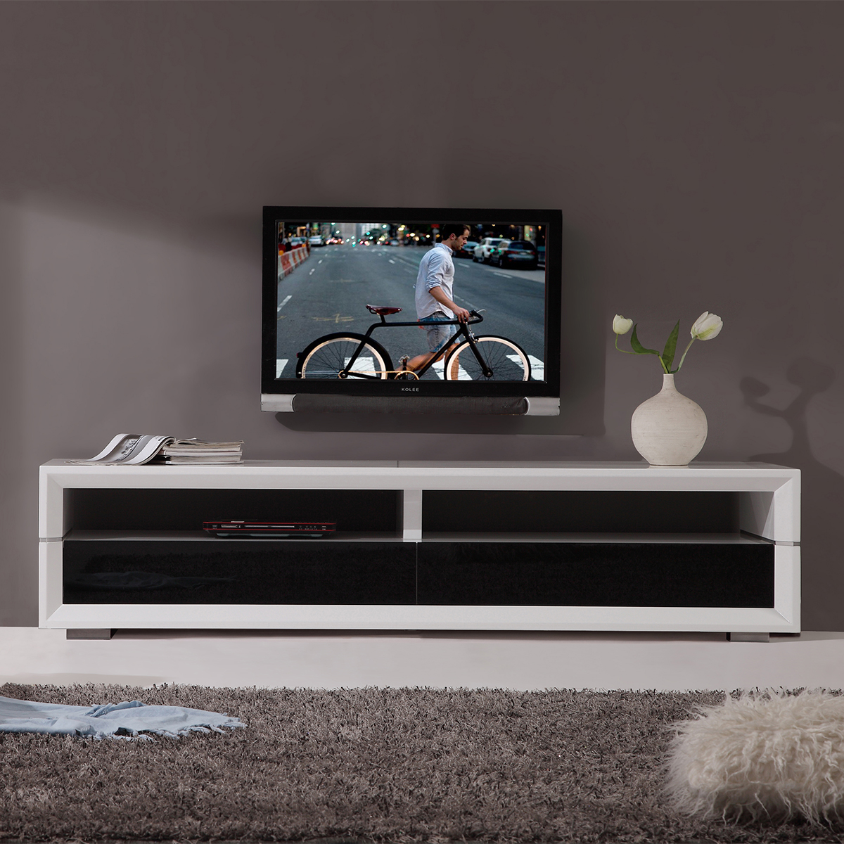 Executive Remix 79  Contemporary TV Stand in White Lacquer w  Black Glass  Doors. B Modern Minimalist Design Contemporary TV Stands   Furniture at