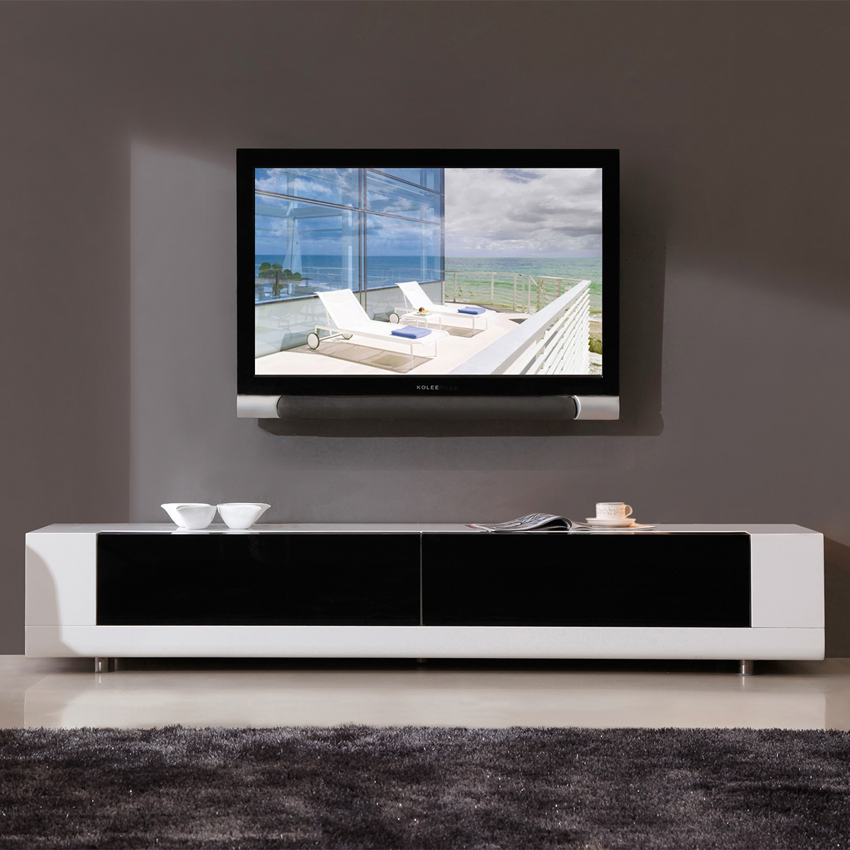 bmodern bmwht editor remix  contemporary tv stand in high  - editor  contemporary tv stand in high gloss white lacquer ( drawerfront)