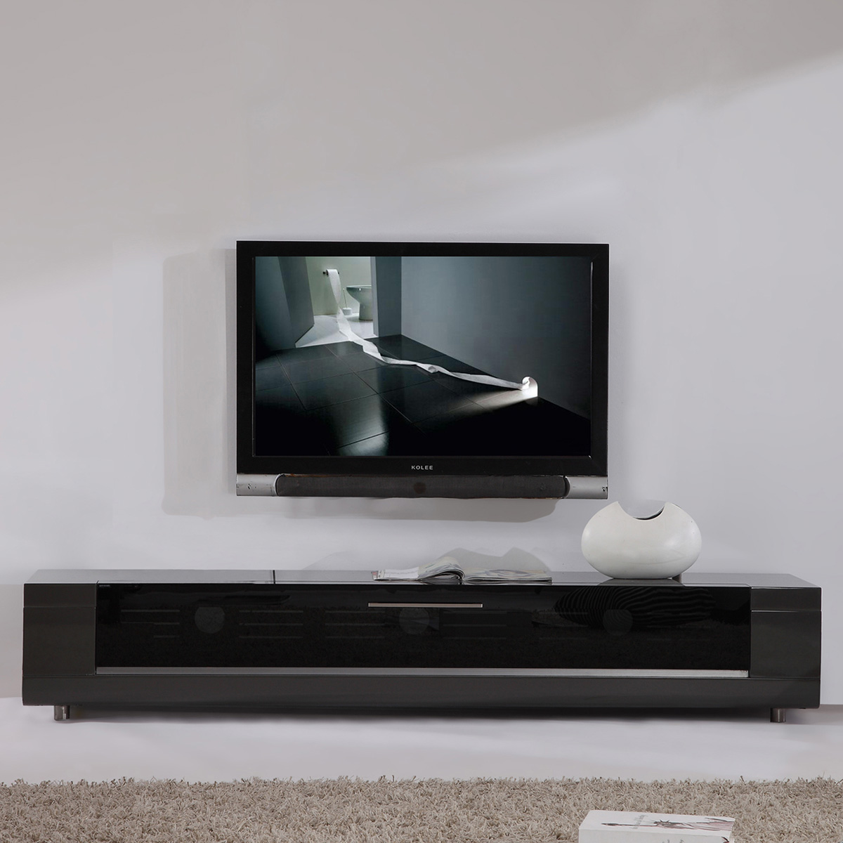Editor Remix 79  Contemporary TV Stand in High Gloss Gray Lacquer  Flip  Down Glass. B Modern Minimalist Design Contemporary TV Stands   Furniture at