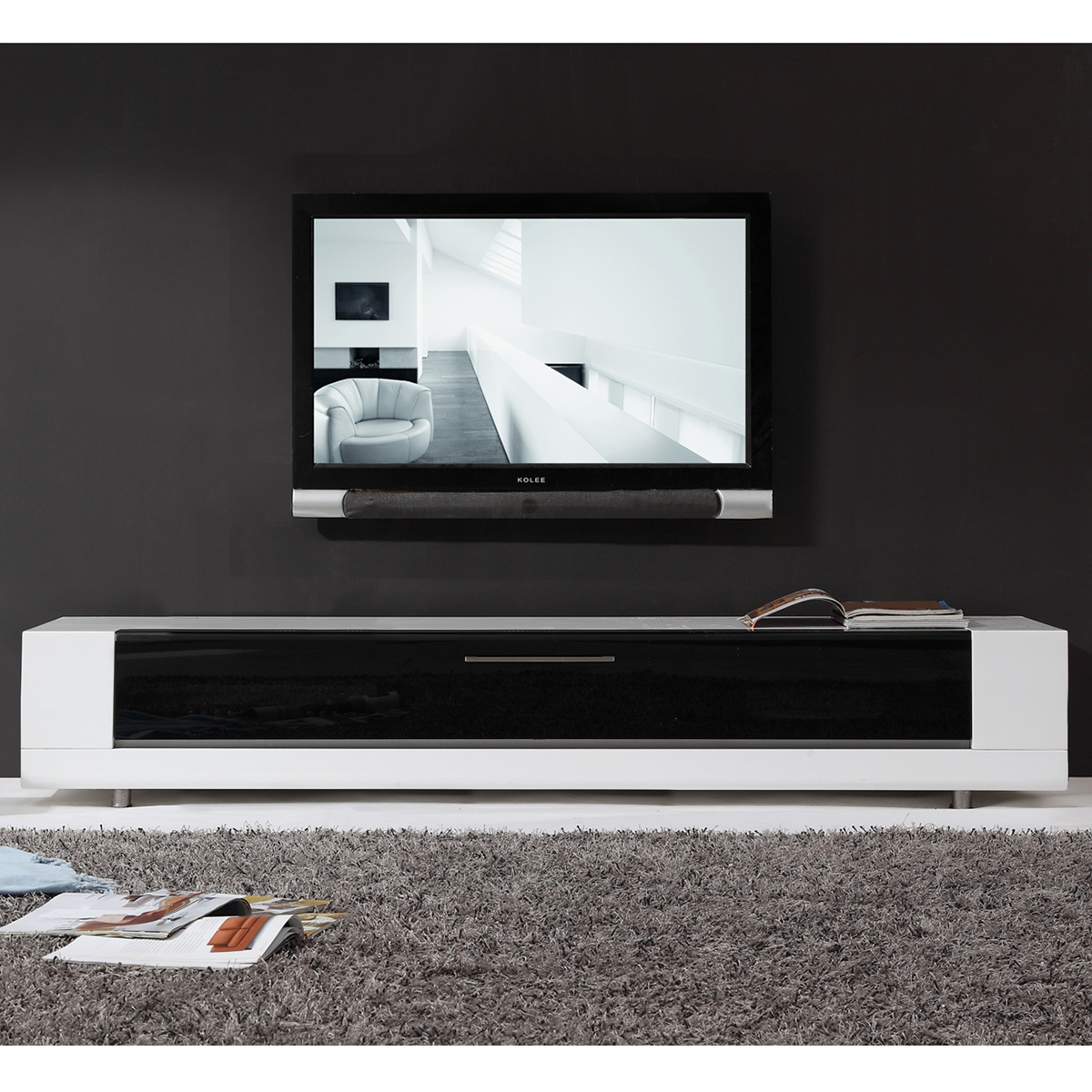 Editor Remix 79  Contemporary TV Stand in High Gloss White Lacquer  Flip  Down Glass. B Modern Minimalist Design Contemporary TV Stands   Furniture at