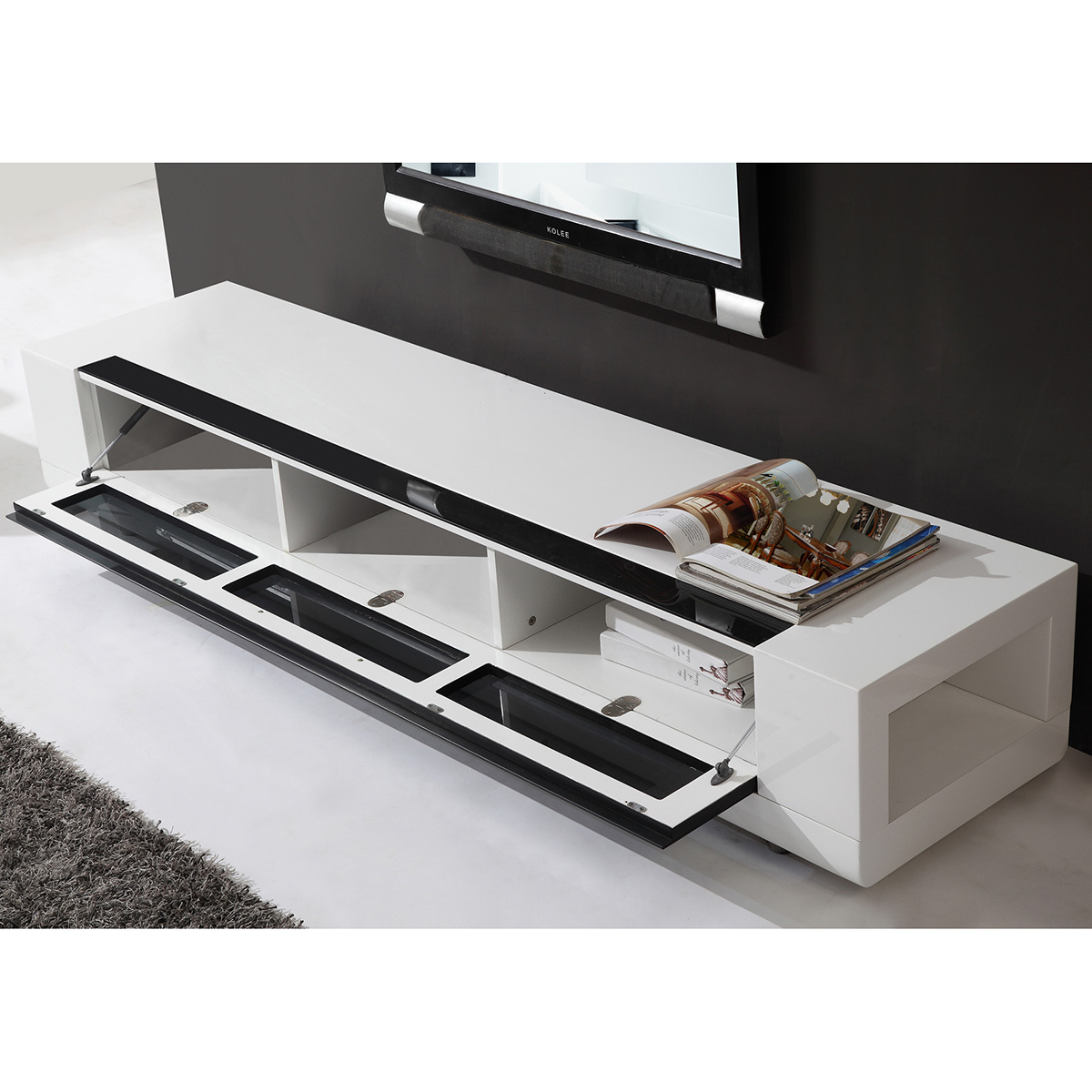 B Modern Editor Remix 79 Contemporary Tv Stand In High Gloss White Lacquer Flip Down Gl Front