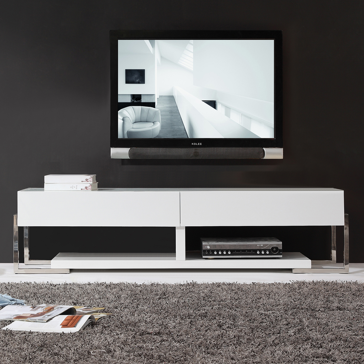 Agent 71 Contemporary Tv Stand In White Lacquer W Gl Top By B Modern