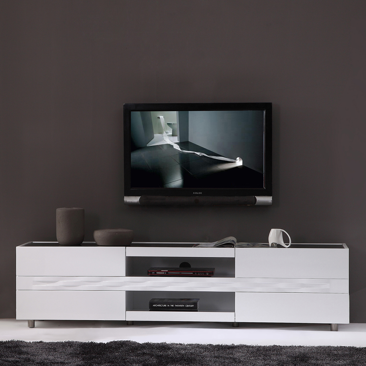 B Modern Bm 803 Wht Publisher 71 Contemporary Tv Stand In White Lacquer W Black Gl Top