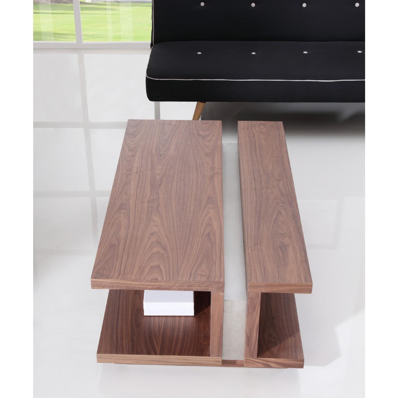 B Modern DJ 47 25  Coffee Table in Light Walnut w  Stainless Steel Center  Detail. B Modern BM 310 BRN S DJ 47 25  Coffee Table in Light Walnut w