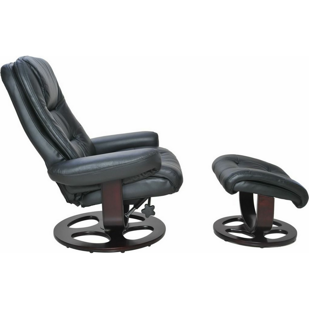 Jacque Ii Pedestal Recliner Ottoman In Hilton Black Leather By Barcalounger