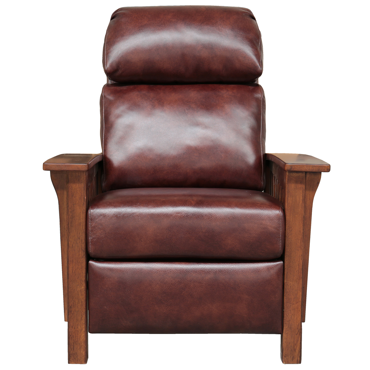 Barcalounger 7 3323 5702 87 Mission Recliner In Wenlock Fudge Leather W Wood Arms
