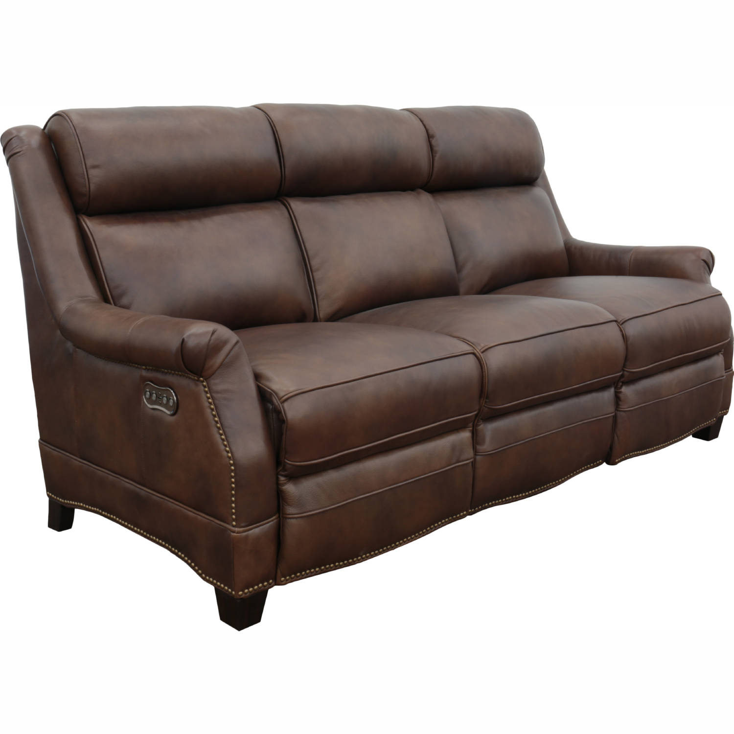 Warrendale Power Reclining Sofa In Cognac Brown Leather By Barcalounger