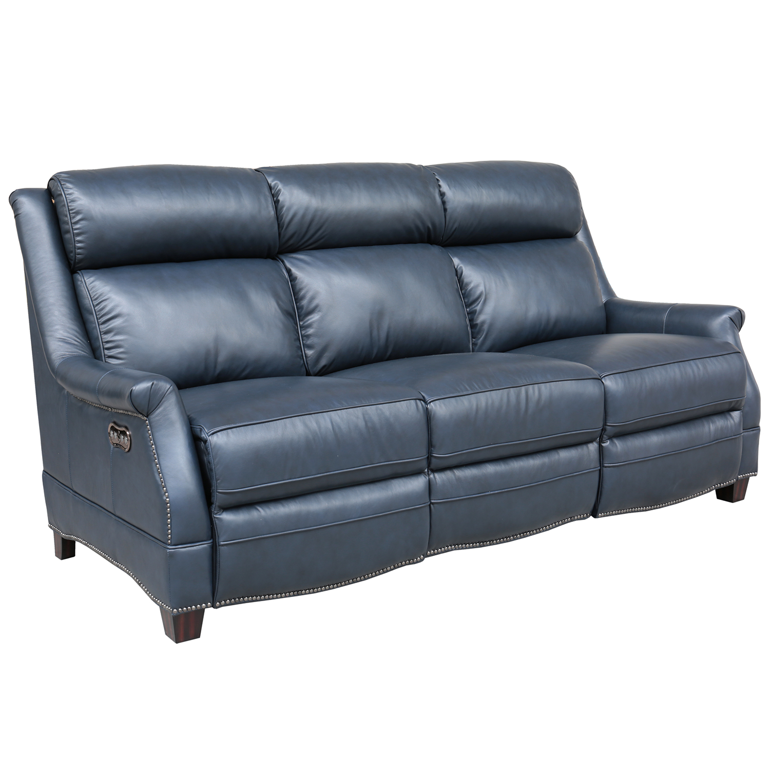 Warrendale Power Reclining Sofa In Shoreham Blue Leather By Barcalounger